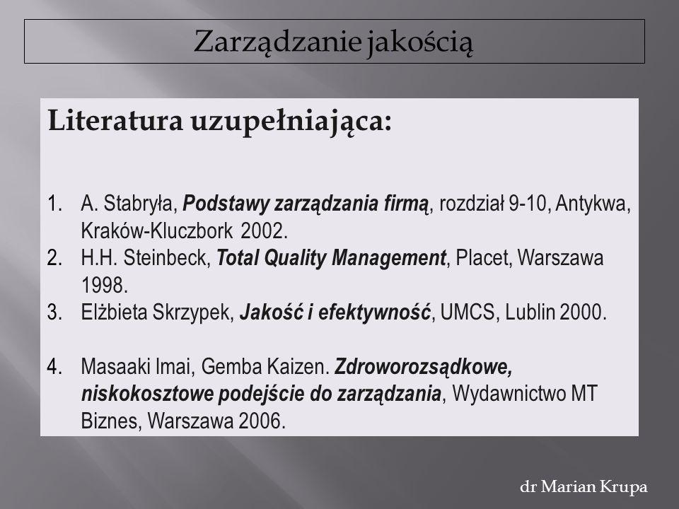 Zarządzanie jakością dr Marian Krupa Literatura uzupełniająca: 1.A. Stabryła, Podstawy zarządzania firmą, rozdział 9-10, Antykwa, Kraków-Kluczbork 200