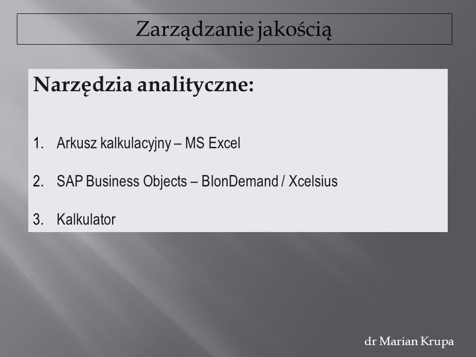 Zarządzanie jakością dr Marian Krupa Narzędzia analityczne: 1.Arkusz kalkulacyjny – MS Excel 2.SAP Business Objects – BIonDemand / Xcelsius 3.Kalkulat