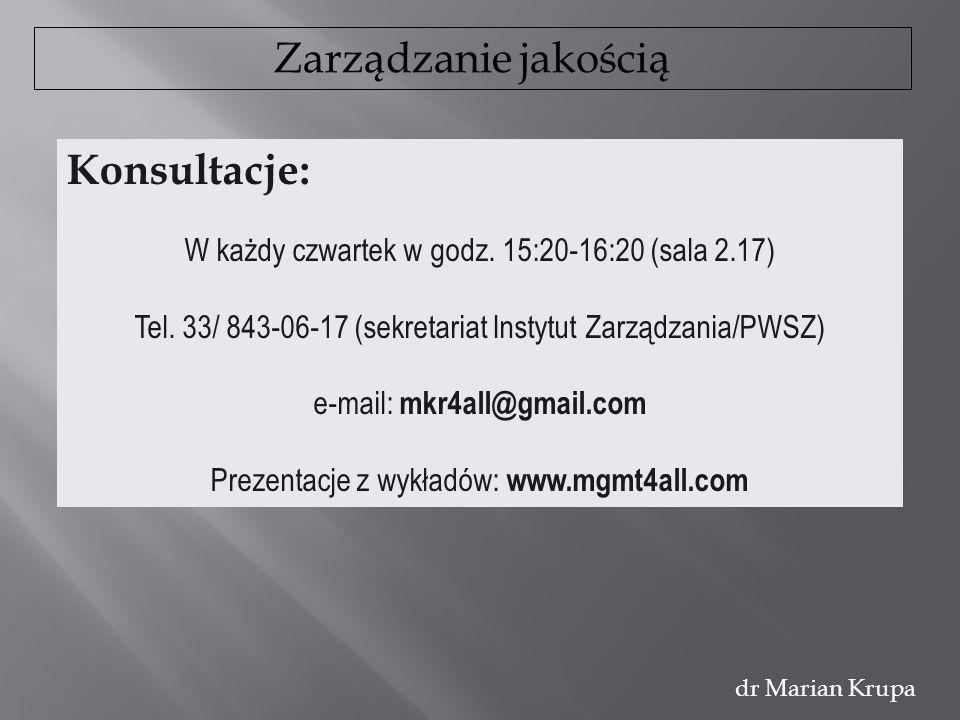 Zarządzanie jakością dr Marian Krupa www.mgmt4all.com