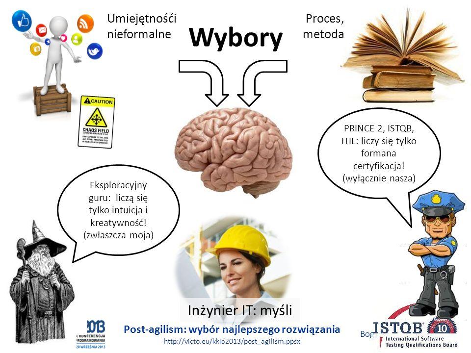 Post-agilism: wybór najlepszego rozwiązania http://victo.eu/kkio2013/post_agilism.ppsx Bogdan Bereza 11 (62) Wybory Umiejętnośći nieformalne Proces, m