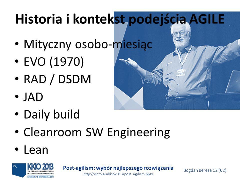 Post-agilism: wybór najlepszego rozwiązania http://victo.eu/kkio2013/post_agilism.ppsx Bogdan Bereza 12 (62) Historia i kontekst podejścia AGILE Mityc
