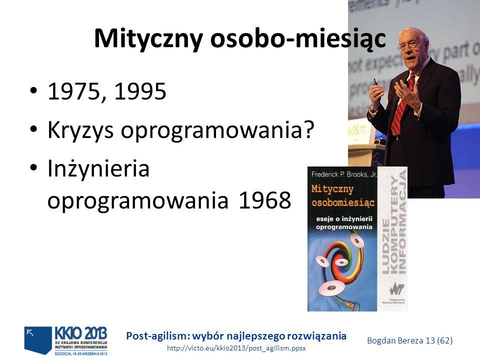 Post-agilism: wybór najlepszego rozwiązania http://victo.eu/kkio2013/post_agilism.ppsx Bogdan Bereza 13 (62) Mityczny osobo-miesiąc 1975, 1995 Kryzys