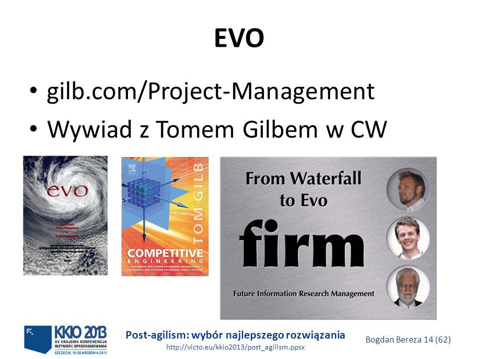 Post-agilism: wybór najlepszego rozwiązania http://victo.eu/kkio2013/post_agilism.ppsx Bogdan Bereza 14 (62) EVO gilb.com/Project-Management Wywiad z
