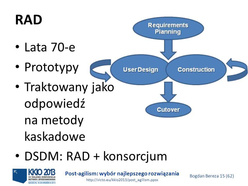Post-agilism: wybór najlepszego rozwiązania http://victo.eu/kkio2013/post_agilism.ppsx Bogdan Bereza 15 (62) RAD Lata 70-e Prototypy Traktowany jako o