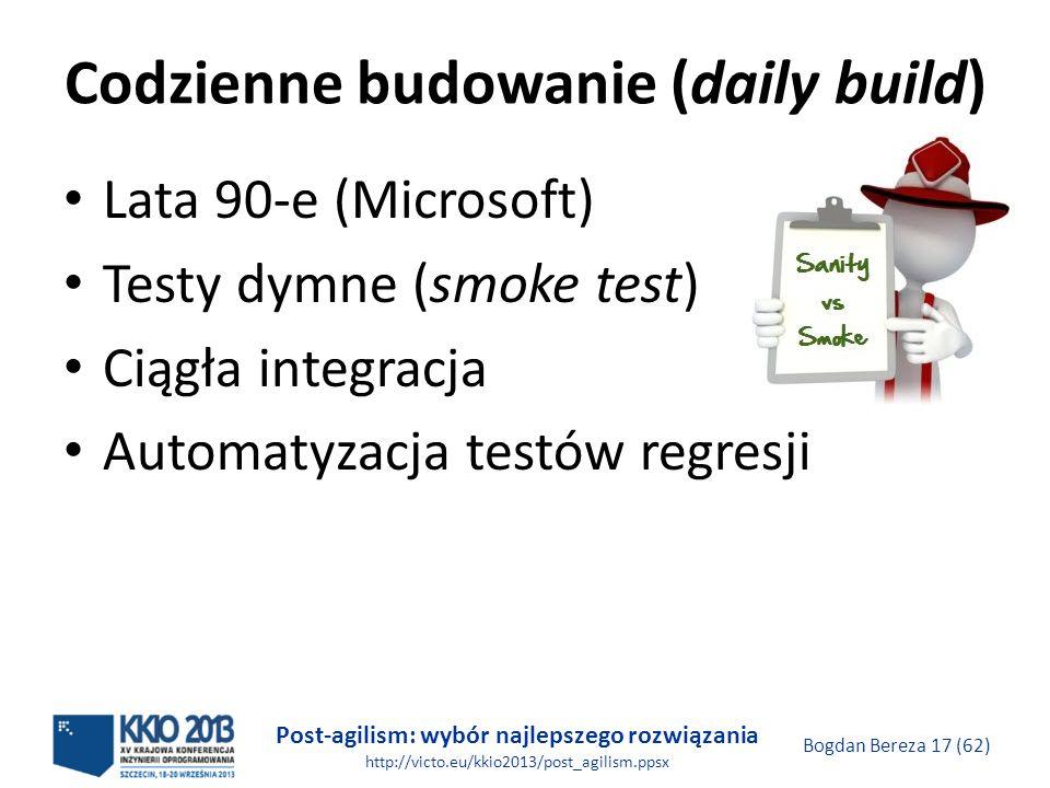 Post-agilism: wybór najlepszego rozwiązania http://victo.eu/kkio2013/post_agilism.ppsx Bogdan Bereza 17 (62) Codzienne budowanie (daily build) Lata 90
