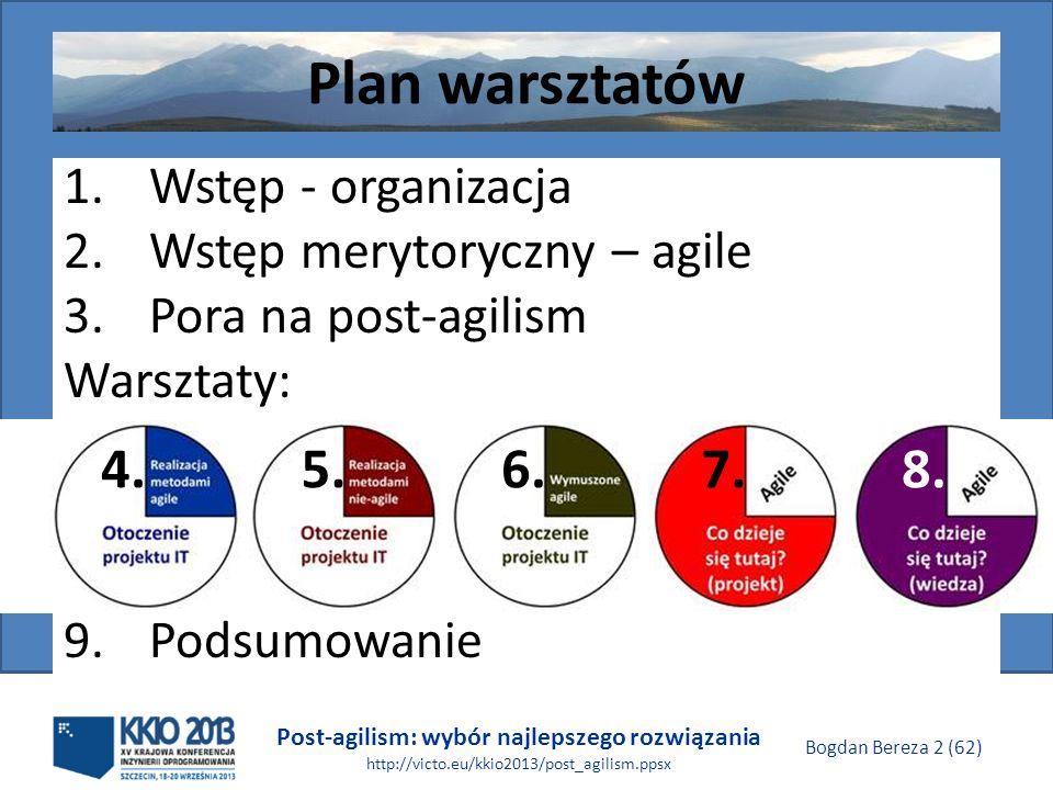 Post-agilism: wybór najlepszego rozwiązania http://victo.eu/kkio2013/post_agilism.ppsx Bogdan Bereza 2 (62) Plan warsztatów 1.Wstęp - organizacja 2.Ws