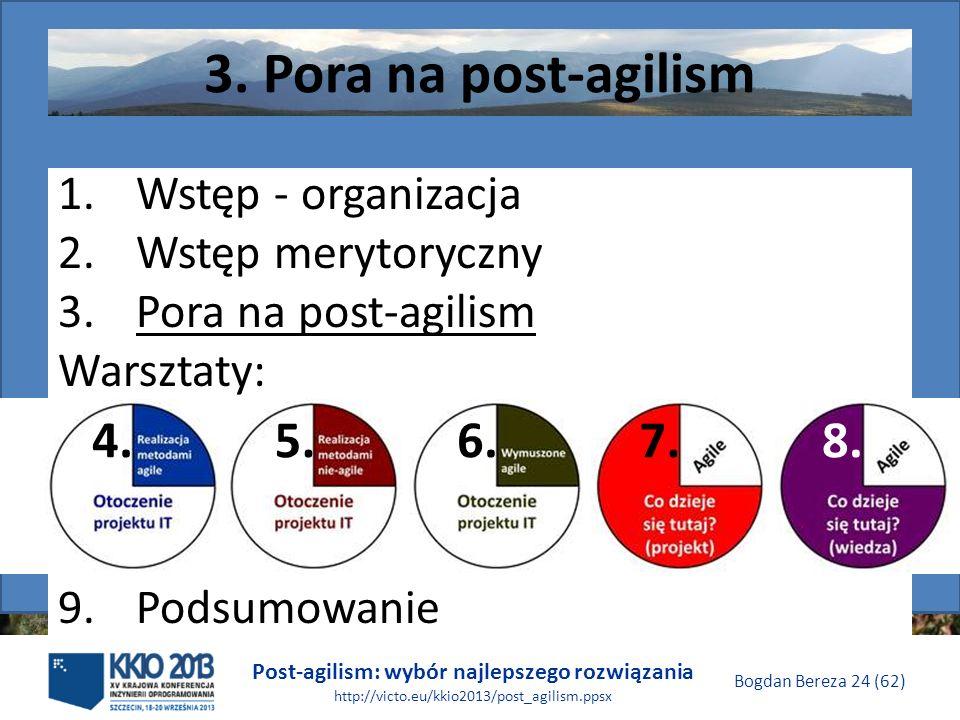 Post-agilism: wybór najlepszego rozwiązania http://victo.eu/kkio2013/post_agilism.ppsx Bogdan Bereza 24 (62) 3. Pora na post-agilism 1.Wstęp - organiz