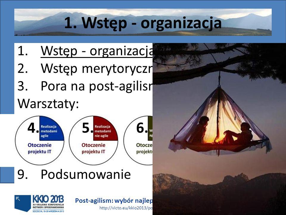 Post-agilism: wybór najlepszego rozwiązania http://victo.eu/kkio2013/post_agilism.ppsx Bogdan Bereza 3 (62) 1. Wstęp - organizacja 2.Wstęp merytoryczn