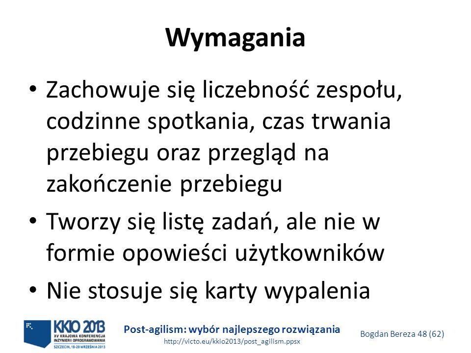 Post-agilism: wybór najlepszego rozwiązania http://victo.eu/kkio2013/post_agilism.ppsx Bogdan Bereza 48 (62) Wymagania Zachowuje się liczebność zespoł