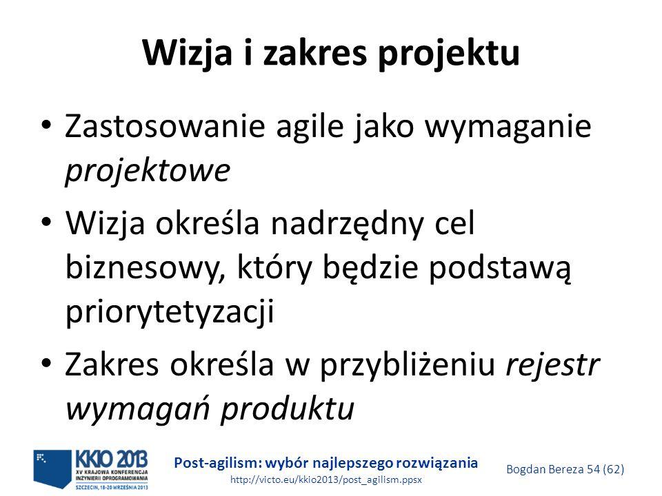 Post-agilism: wybór najlepszego rozwiązania http://victo.eu/kkio2013/post_agilism.ppsx Bogdan Bereza 54 (62) Wizja i zakres projektu Zastosowanie agil