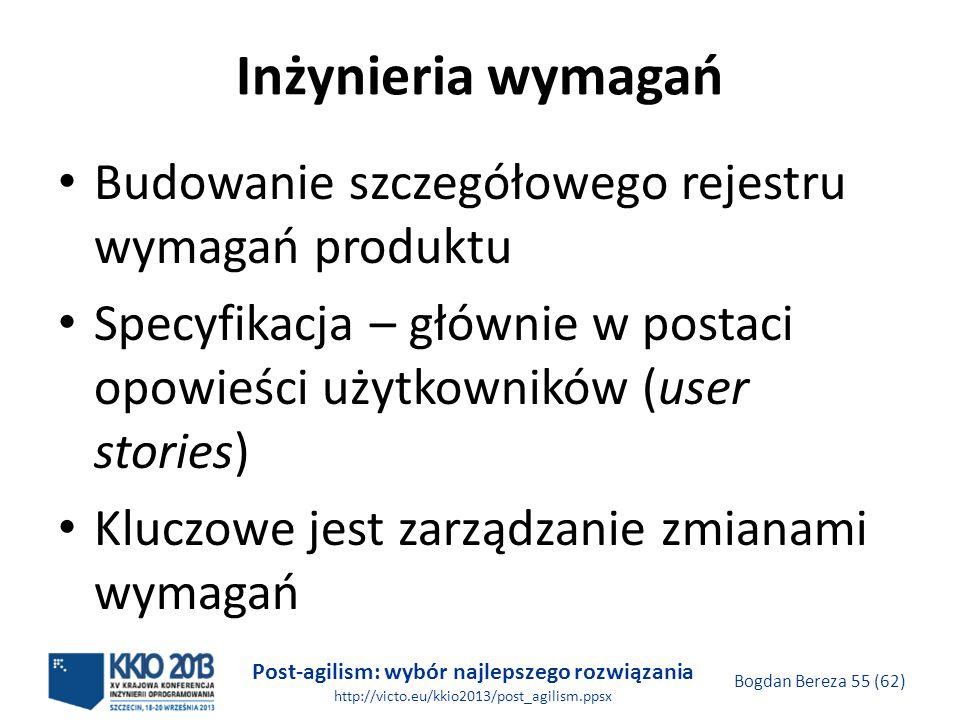 Post-agilism: wybór najlepszego rozwiązania http://victo.eu/kkio2013/post_agilism.ppsx Bogdan Bereza 55 (62) Inżynieria wymagań Budowanie szczegółoweg