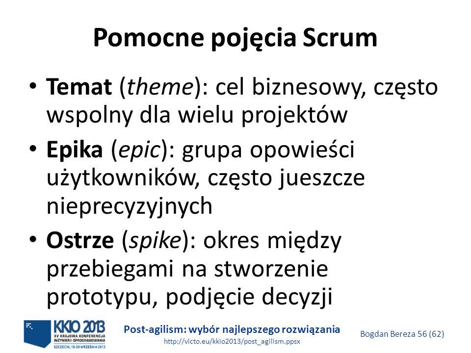 Post-agilism: wybór najlepszego rozwiązania http://victo.eu/kkio2013/post_agilism.ppsx Bogdan Bereza 56 (62) Pomocne pojęcia Scrum Temat (theme): cel