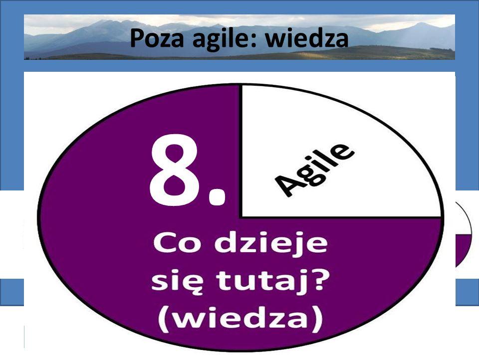 Post-agilism: wybór najlepszego rozwiązania http://victo.eu/kkio2013/post_agilism.ppsx Bogdan Bereza 57 (62) Poza agile: wiedza Wstęp - organizacja Ws