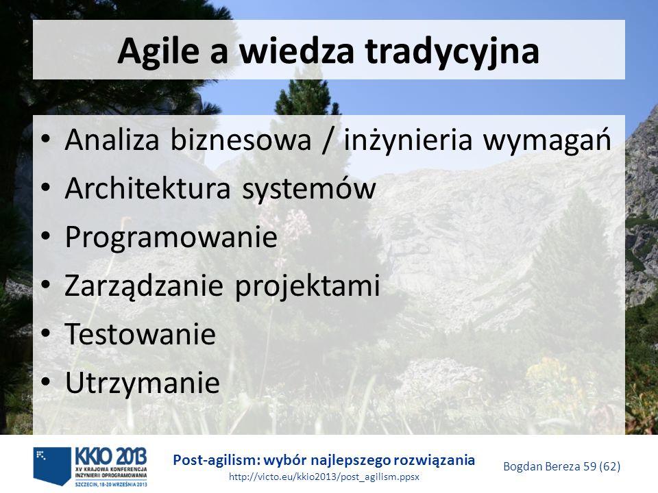 Post-agilism: wybór najlepszego rozwiązania http://victo.eu/kkio2013/post_agilism.ppsx Bogdan Bereza 59 (62) Agile a wiedza tradycyjna Analiza bizneso