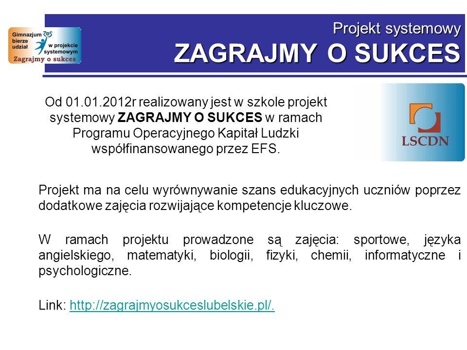Projekt systemowy ZAGRAJMY O SUKCES Od 01.01.2012r realizowany jest w szkole projekt systemowy ZAGRAJMY O SUKCES w ramach Programu Operacyjnego Kapitał Ludzki współfinansowanego przez EFS.