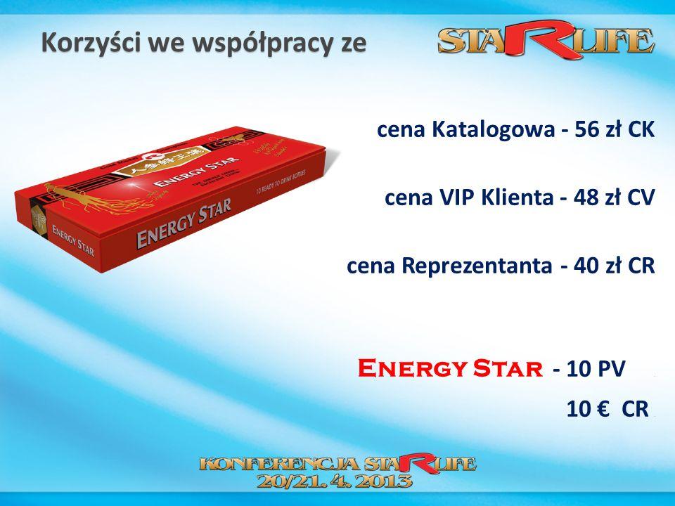 Korzyści we współpracy ze cena Katalogowa - 56 zł CK cena VIP Klienta - 48 zł CV cena Reprezentanta - 40 zł CR Energy Star - 10 PV. 10 CR.