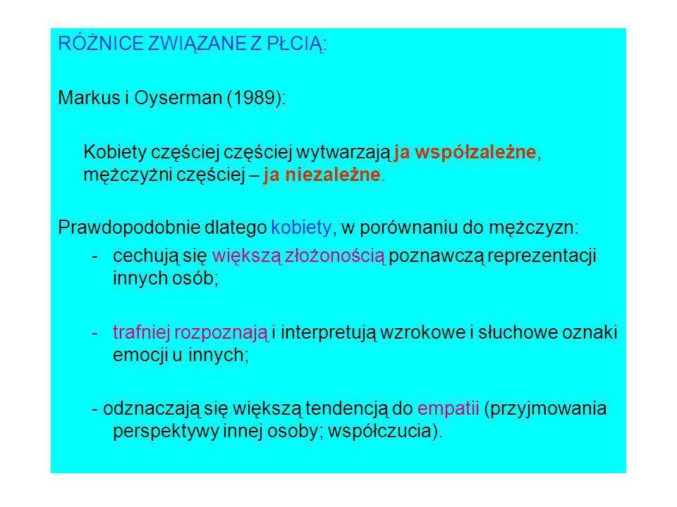 RÓŻNICE ZWIĄZANE Z PŁCIĄ: Markus i Oyserman (1989): Kobiety częściej częściej wytwarzają ja współzależne, mężczyżni częściej – ja niezależne.