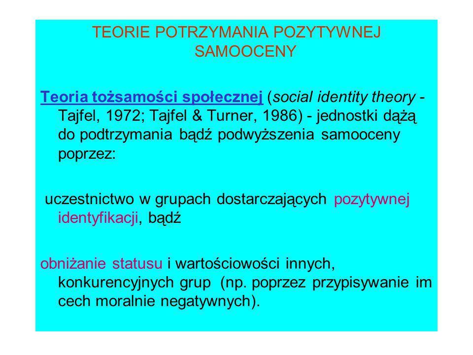 TEORIE POTRZYMANIA POZYTYWNEJ SAMOOCENY Teoria tożsamości społecznej (social identity theory - Tajfel, 1972; Tajfel & Turner, 1986) - jednostki dążą do podtrzymania bądź podwyższenia samooceny poprzez: uczestnictwo w grupach dostarczających pozytywnej identyfikacji, bądź obniżanie statusu i wartościowości innych, konkurencyjnych grup (np.