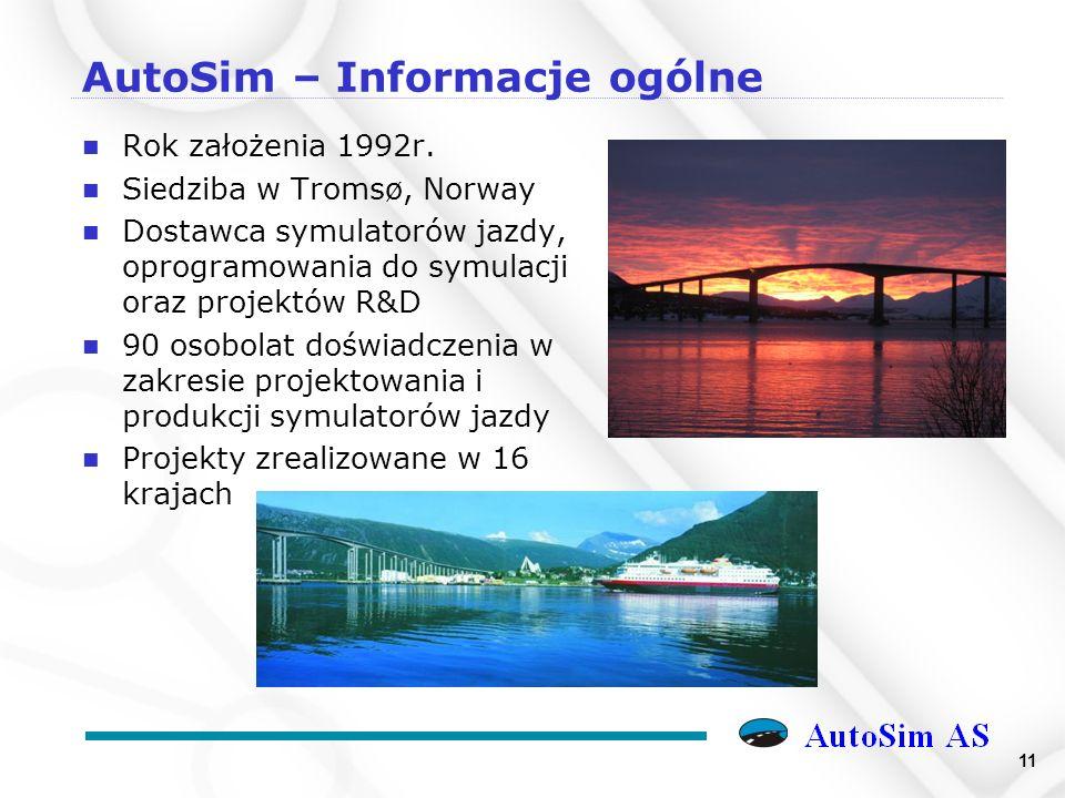11 AutoSim – Informacje ogólne n Rok założenia 1992r.