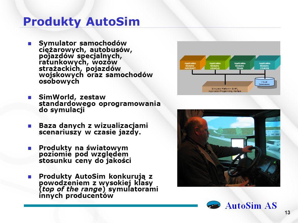 13 Produkty AutoSim n Symulator samochodów ciężarowych, autobusów, pojazdów specjalnych, ratunkowych, wozów strażackich, pojazdów wojskowych oraz samochodów osobowych n SimWorld, zestaw standardowego oprogramowania do symulacji n Baza danych z wizualizacjami scenariuszy w czasie jazdy.