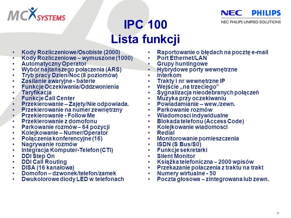 13 IPC 100 Lista funkcji Kody Rozliczeniowe/Osobiste (2000) Kody Rozliczeniowe – wymuszone (1000) Automatyczny Operator Wybór najtańszego połączenia (
