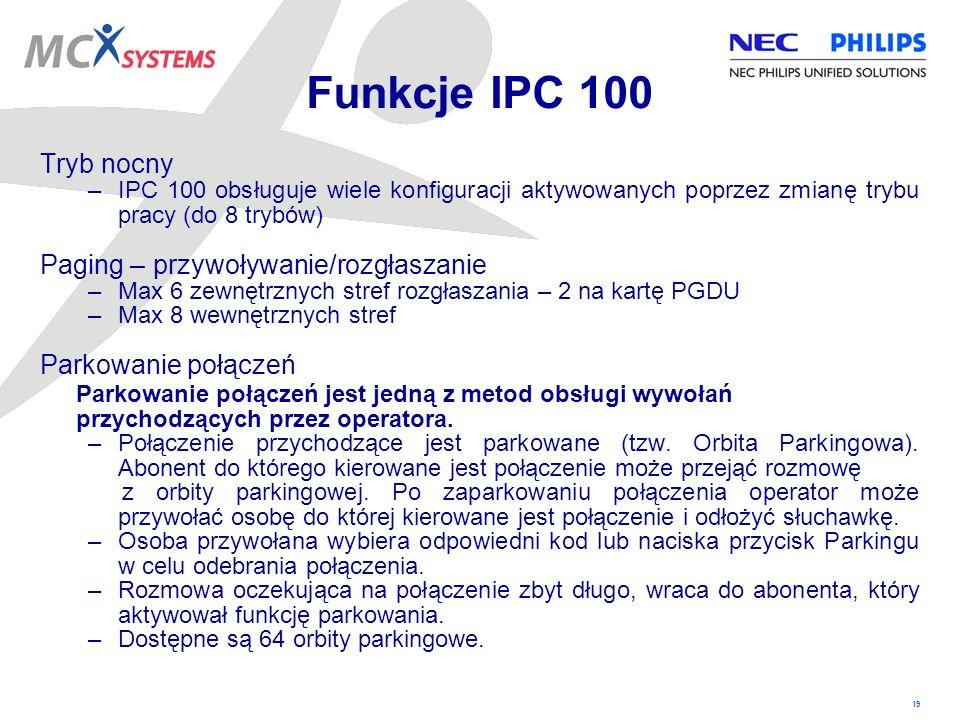 19 Funkcje IPC 100 Tryb nocny –IPC 100 obsługuje wiele konfiguracji aktywowanych poprzez zmianę trybu pracy (do 8 trybów) Paging – przywoływanie/rozgł