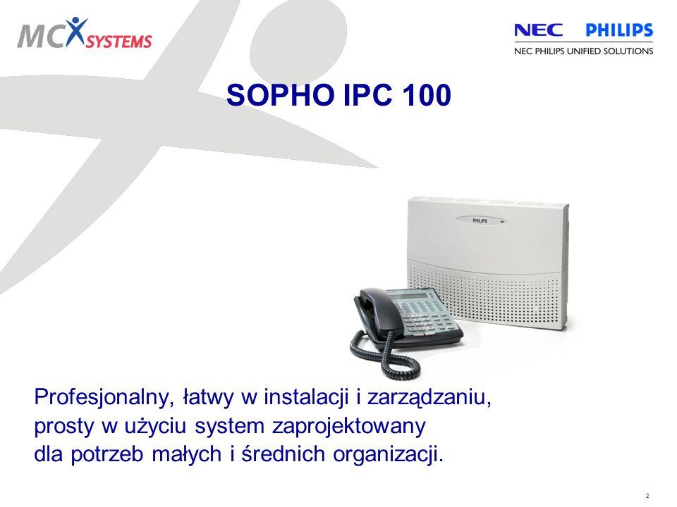 2 Profesjonalny, łatwy w instalacji i zarządzaniu, prosty w użyciu system zaprojektowany dla potrzeb małych i średnich organizacji. SOPHO IPC 100