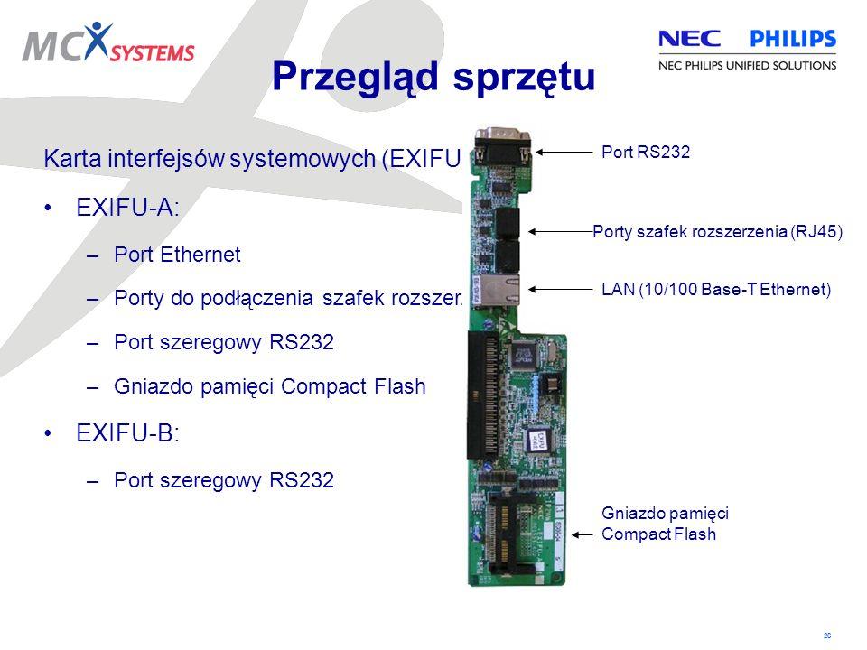 26 Karta interfejsów systemowych (EXIFU): EXIFU-A: –Port Ethernet –Porty do podłączenia szafek rozszerzenia –Port szeregowy RS232 –Gniazdo pamięci Com