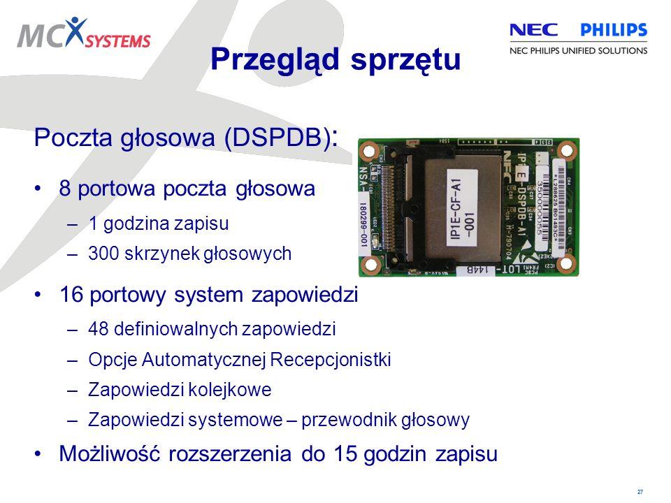 27 Poczta głosowa (DSPDB) : 8 portowa poczta głosowa –1 godzina zapisu –300 skrzynek głosowych 16 portowy system zapowiedzi –48 definiowalnych zapowie