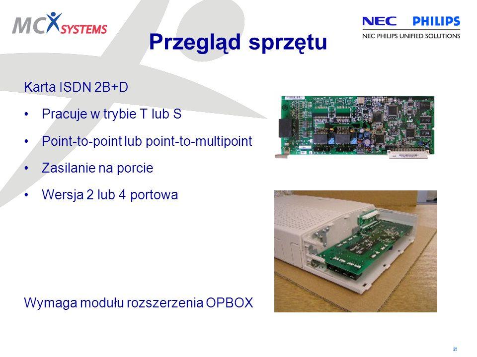 29 Karta ISDN 2B+D Pracuje w trybie T lub S Point-to-point lub point-to-multipoint Zasilanie na porcie Wersja 2 lub 4 portowa Wymaga modułu rozszerzen