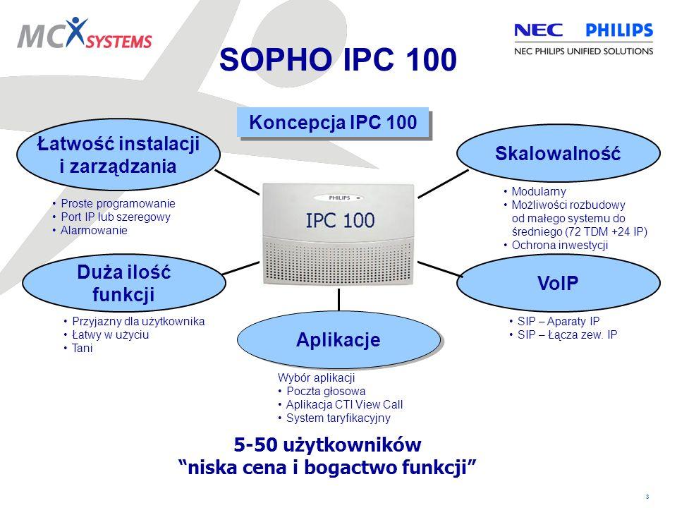 14 Funkcje IPC 100 Numery wybierania skróconego –Ogólne (900) i grupowe (1100) –Max 38 cyfr –Dodatkowo każdy aparat posiada osobistą pamięć 20 numerów Kody rozliczeniowe –Używane do restrykcji lub kategoryzacji połączeń wychodzących.