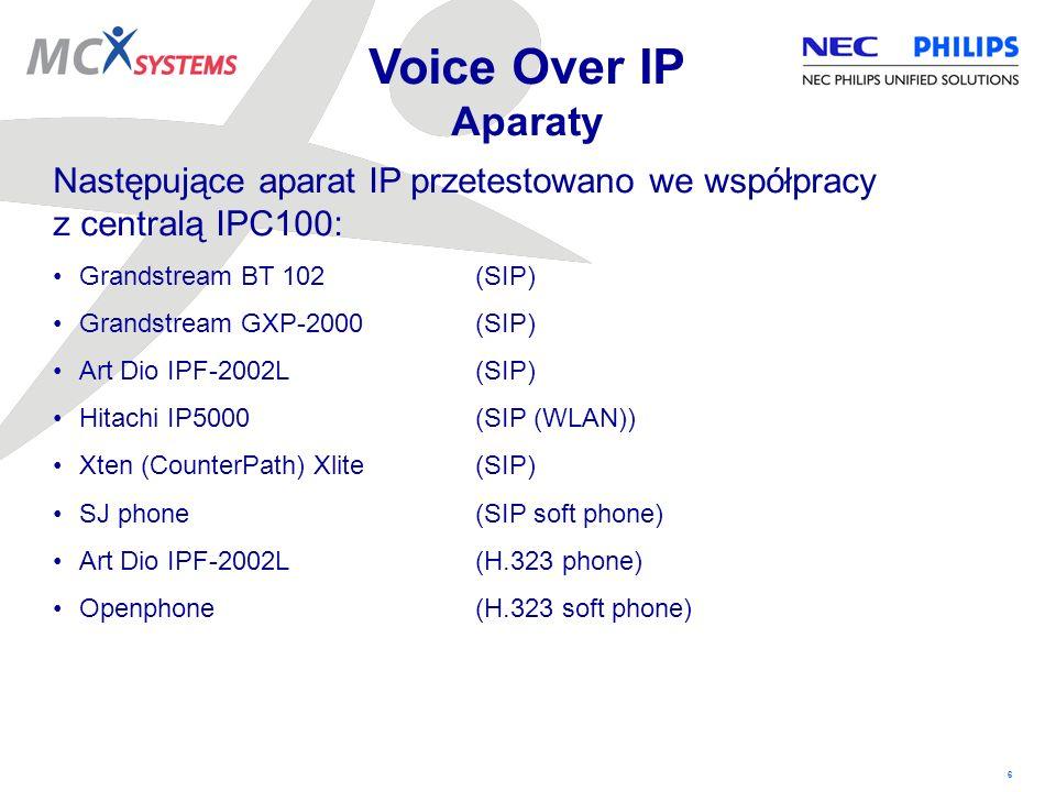 6 Następujące aparat IP przetestowano we współpracy z centralą IPC100: Grandstream BT 102(SIP) Grandstream GXP-2000(SIP) Art Dio IPF-2002L(SIP) Hitach