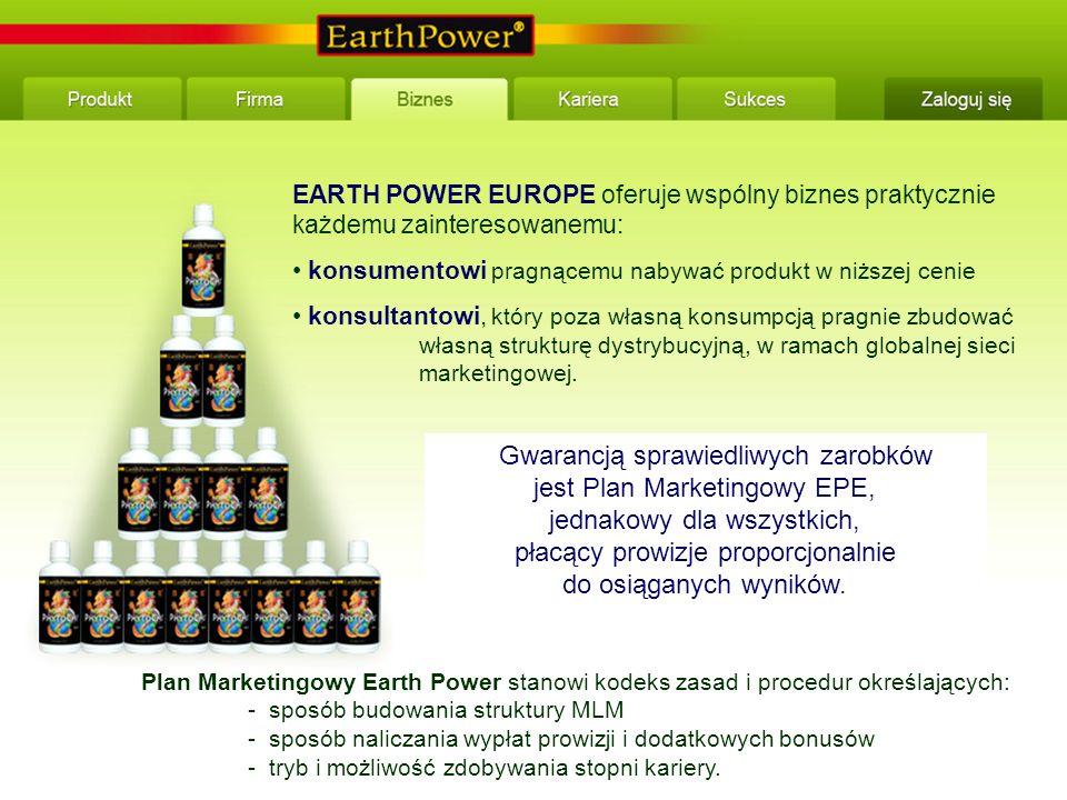 EARTH POWER EUROPE oferuje wspólny biznes praktycznie każdemu zainteresowanemu: konsumentowi pragnącemu nabywać produkt w niższej cenie konsultantowi, który poza własną konsumpcją pragnie zbudować własną strukturę dystrybucyjną, w ramach globalnej sieci marketingowej.