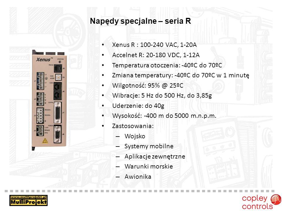 Napędy specjalne – seria R Xenus R : 100-240 VAC, 1-20A Accelnet R: 20-180 VDC, 1-12A Temperatura otoczenia: -40ºC do 70ºC Zmiana temperatury: -40ºC d