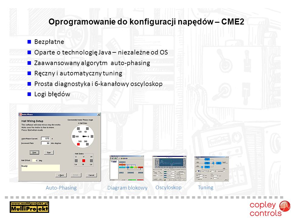 Oprogramowanie do konfiguracji napędów – CME2 Bezpłatne Oparte o technologię Java – niezależne od OS Zaawansowany algorytm auto-phasing Ręczny i automatyczny tuning Prosta diagnostyka i 6-kanałowy oscyloskop Logi błędów Auto-Phasing Diagram blokowy OscyloskopTuning