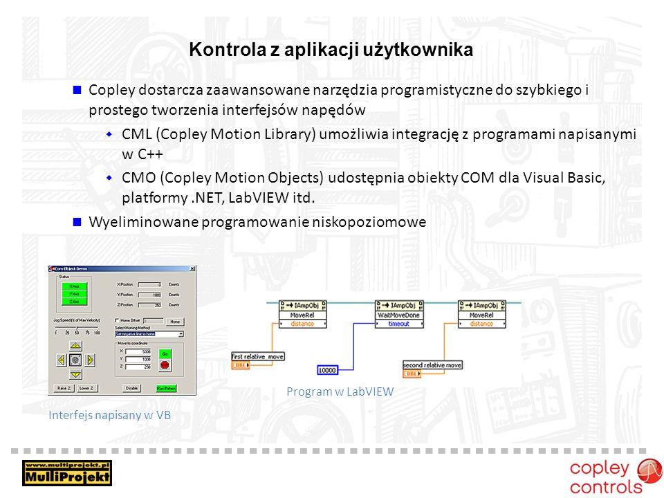 Kontrola z aplikacji użytkownika Copley dostarcza zaawansowane narzędzia programistyczne do szybkiego i prostego tworzenia interfejsów napędów CML (Copley Motion Library) umożliwia integrację z programami napisanymi w C++ CMO (Copley Motion Objects) udostępnia obiekty COM dla Visual Basic, platformy.NET, LabVIEW itd.