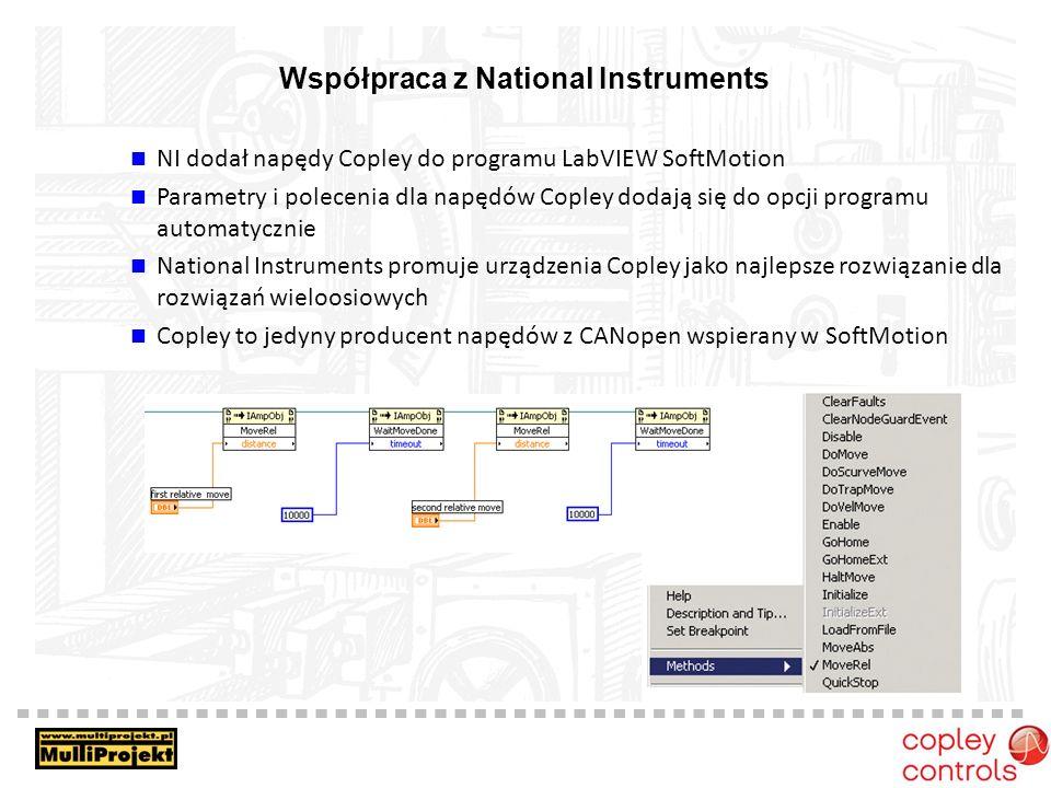 Współpraca z National Instruments NI dodał napędy Copley do programu LabVIEW SoftMotion Parametry i polecenia dla napędów Copley dodają się do opcji programu automatycznie National Instruments promuje urządzenia Copley jako najlepsze rozwiązanie dla rozwiązań wieloosiowych Copley to jedyny producent napędów z CANopen wspierany w SoftMotion