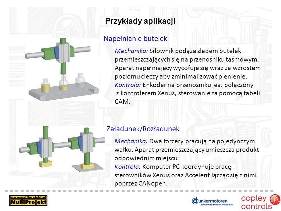 Przykłady aplikacji Napełnianie butelek Mechanika: Siłownik podąża śladem butelek przemieszczających się na przenośniku taśmowym. Aparat napełniający