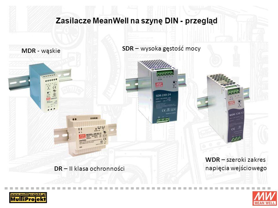Zasilacze MeanWell na szynę DIN - przegląd WDR – szeroki zakres napięcia wejściowego MDR - wąskie DR – II klasa ochronności SDR – wysoka gęstość mocy