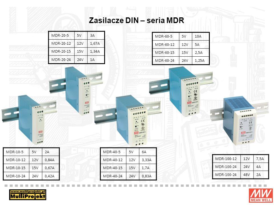 Zasilacze DIN – seria MDR MDR-10-55V2A MDR-10-1212V0,84A MDR-10-1515V0,67A MDR-10-2424V0,42A MDR-20-55V3A MDR-20-1212V1,67A MDR-20-1515V1,34A MDR-20-2