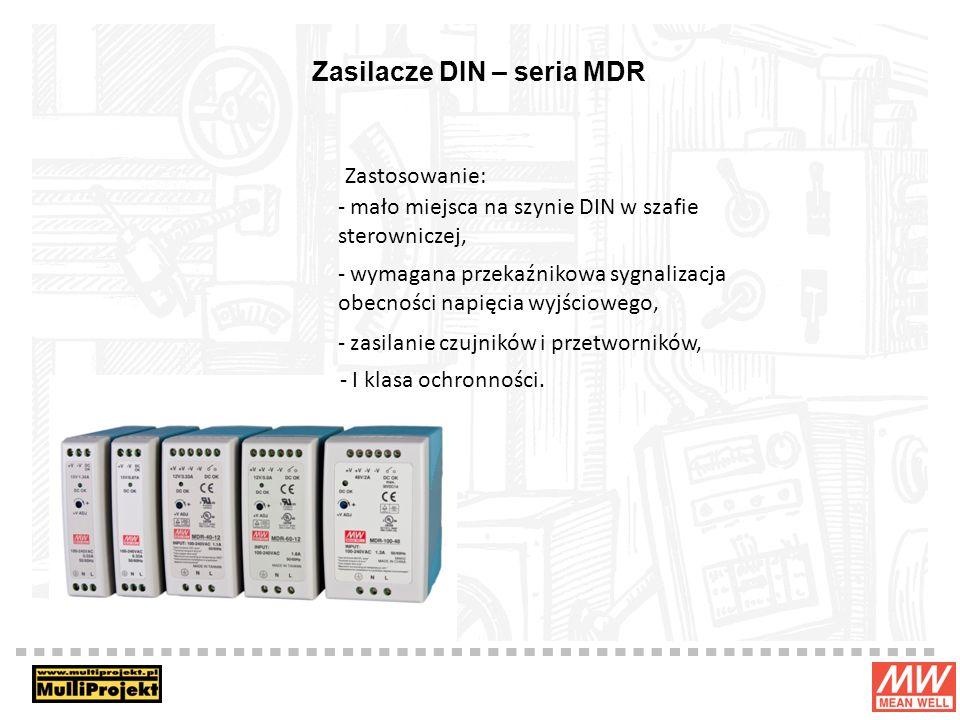 Zasilacze DIN – seria MDR Zastosowanie: - mało miejsca na szynie DIN w szafie sterowniczej, - wymagana przekaźnikowa sygnalizacja obecności napięcia wyjściowego, - zasilanie czujników i przetworników, - I klasa ochronności.