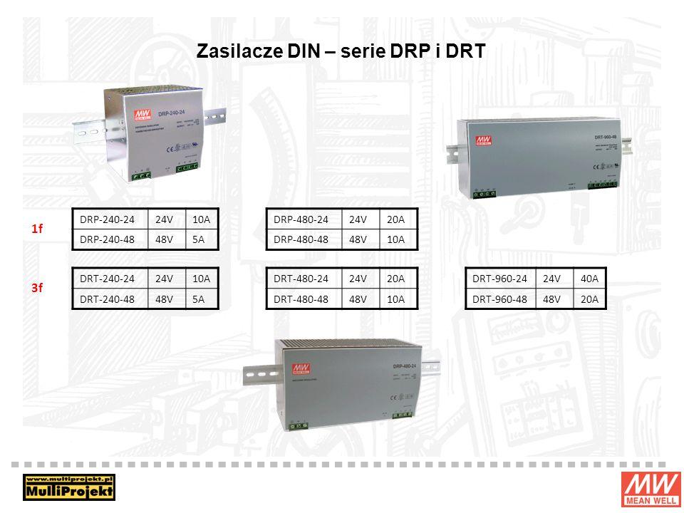 Zasilacze DIN – serie DRP i DRT DRP-240-2424V10A DRP-240-4848V5A DRP-480-2424V20A DRP-480-4848V10A DRT-480-2424V20A DRT-480-4848V10A DRT-960-2424V40A DRT-960-4848V20A DRT-240-2424V10A DRT-240-4848V5A 1f 3f