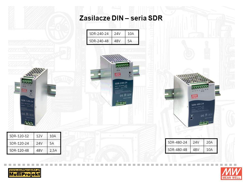 Zasilacze DIN – seria SDR SDR-120-1212V10A SDR-120-2424V5A SDR-120-4848V2,5A SDR-480-2424V20A SDR-480-4848V10A SDR-240-2424V10A SDR-240-4848V5A
