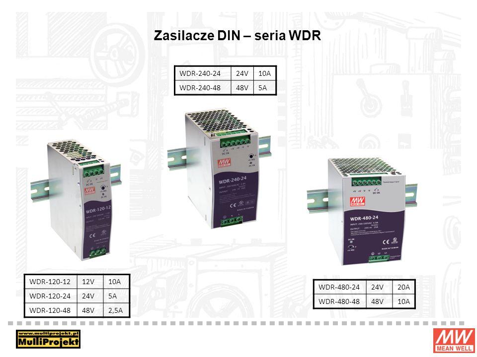 Zasilacze DIN – seria WDR WDR-120-1212V10A WDR-120-2424V5A WDR-120-4848V2,5A WDR-480-2424V20A WDR-480-4848V10A WDR-240-2424V10A WDR-240-4848V5A