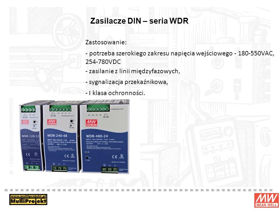 Zasilacze DIN – seria WDR : Zastosowanie: - potrzeba szerokiego zakresu napięcia wejściowego - 180-550VAC, 254-780VDC - zasilanie z linii międzyfazowych, -, - sygnalizacja przekaźnikowa, - I klasa ochronności.