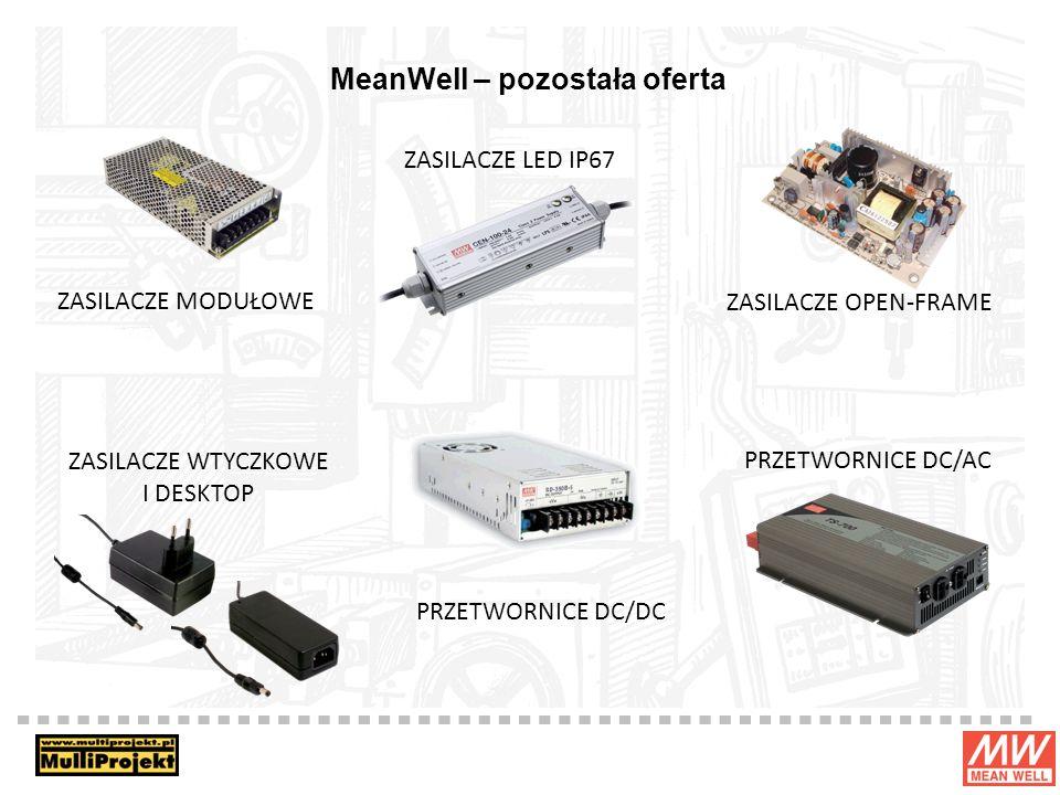 MeanWell – pozostała oferta ZASILACZE MODUŁOWE ZASILACZE LED IP67 ZASILACZE OPEN-FRAME ZASILACZE WTYCZKOWE I DESKTOP PRZETWORNICE DC/DC PRZETWORNICE DC/AC