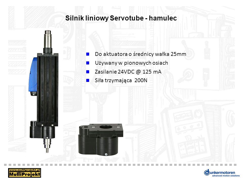 Silnik liniowy Servotube - hamulec Do aktuatora o średnicy wałka 25mm Używany w pionowych osiach Zasilanie 24VDC @ 125 mA Siła trzymająca 200N