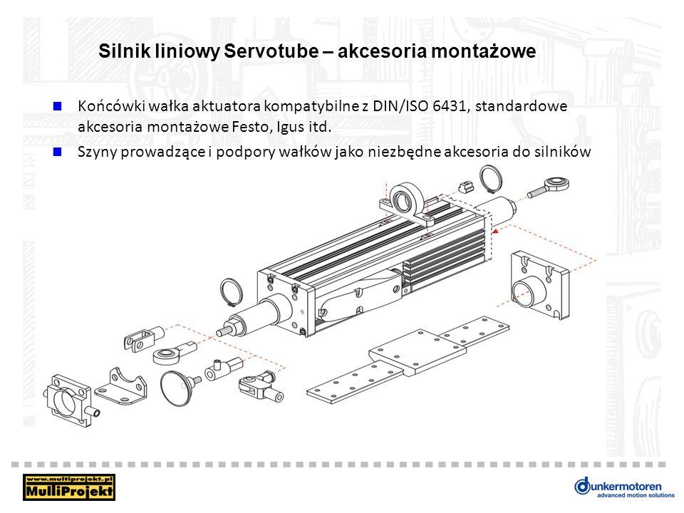 Silnik liniowy Servotube – akcesoria montażowe Końcówki wałka aktuatora kompatybilne z DIN/ISO 6431, standardowe akcesoria montażowe Festo, Igus itd.