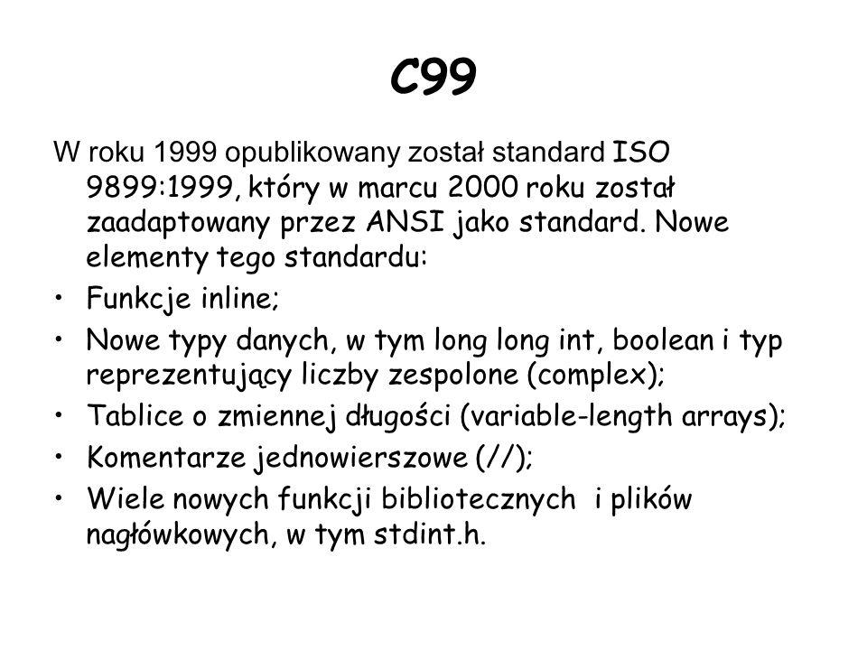 C99 W roku 1999 opublikowany został standard ISO 9899:1999, który w marcu 2000 roku został zaadaptowany przez ANSI jako standard.