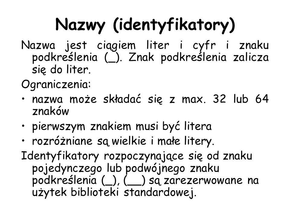 Nazwy (identyfikatory) Nazwa jest ciągiem liter i cyfr i znaku podkreślenia (_). Znak podkreślenia zalicza się do liter. Ograniczenia: nazwa może skła